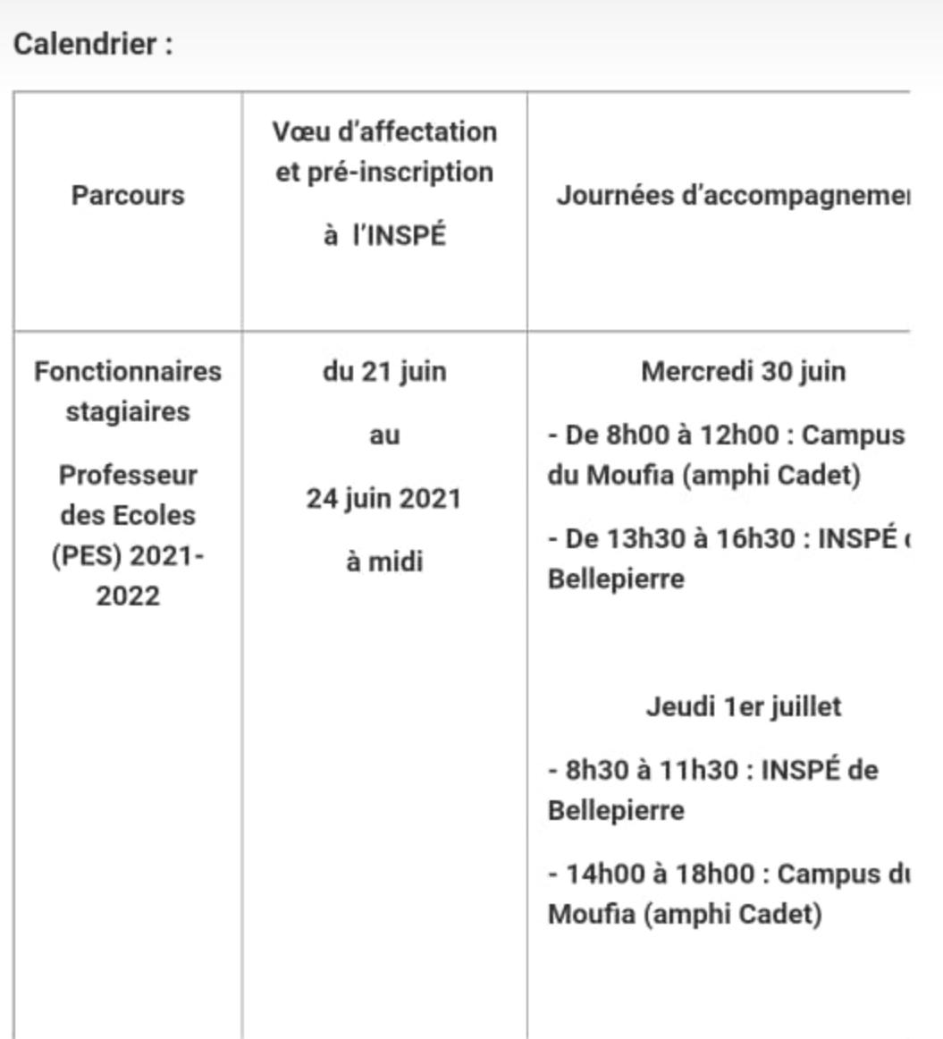 Inscription via e candidat sur le site de l'inspe Réunion du 21 juin au 24 juin 2021.